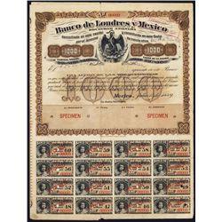 Banco de Londres y Mexico Specimen Bond.