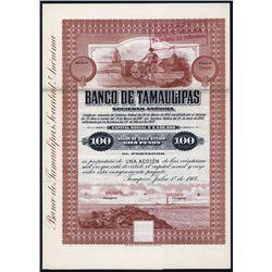 Banco de Tamaulipas 1907 Specimen Bond.