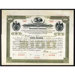 Banco Mercantil De Yucatan Specimen Bond.