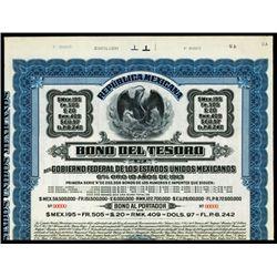 Bono del Tesoro del Gobierno Federal De Los Estados Unidos Mexicanos Specimen Bond.