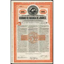 Ciudad de Oaxaca de Juarez, 1910 Issued Bond.