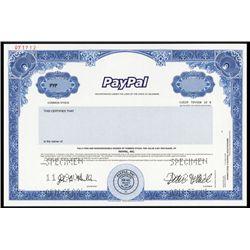 PayPal, Inc. Specimen Stock - Pre-Ebay.