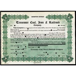Tennessee Coal, Iron & Railroad Co. Specimen Stock - Early Dow Jones Industrial Average Company in 1