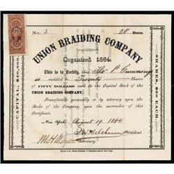 Union Braiding Co. Issued Stock.