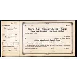 Santa Ana Masonic Temple Association Unissued Stock Book of 109 Pieces.