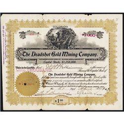 Deadshot Gold Mining Co. 1903 Cripple Creek Issued Stock Certificate.
