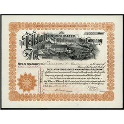 Elkton Consolidated Mining and Milling Co. 1914 Issued Stock Certificate.