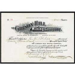 Gibson Hill Mining Co. 1907 Issued Stock Certificate.
