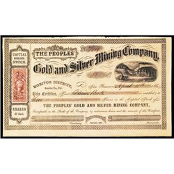 Peoples' Gold and Silver Mining Co. Issued Stock. Issued to Edwin Booth brother of John Wilkes Booth