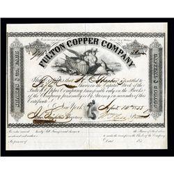 Fulton Copper Company, 1855 Issued Michigan Stock.