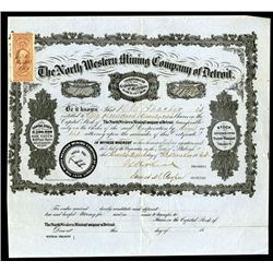 North Western Mining Company of Detroit, 1863 Issued Michigan Stock Certificate.