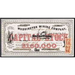 Washington Mining Co., ÒConstitution LedgeÓ 1863 Nevada Territory Issued Stock Certificate.