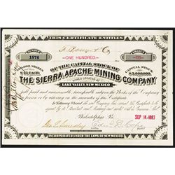 Sierra Apache Mining Co. Issued Stock.
