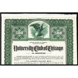 University Club of Chicago 1942 Specimen Bond.