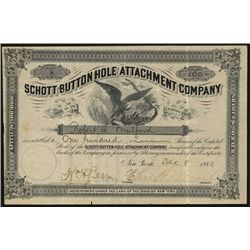 Schott Button Hole Attachment Co. 1883 Issued Stock Certificate.