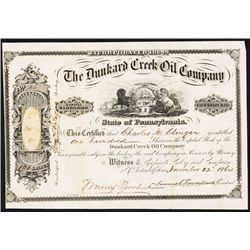 Dunkard Creek Oil Co. 1864 Issued Stock Certificate with Thomas Morris Perot Signature.