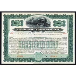 Colorado and Southern Railway Co. Specimen Bond.