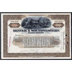Denver & Southwestern Railway Co. 1902 Issued Stock Certificate.