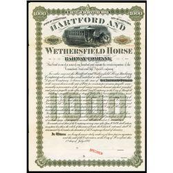 Hartford and Wethersfield Horse Railway Co., 1893, Specimen Bond.