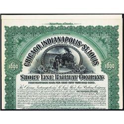 Chicago, Indianapolis and St. Louis Short Line Railway Co. Specimen Bond.