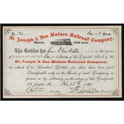 St. Joseph & Des Moines Railroad Co. Issued Stock.