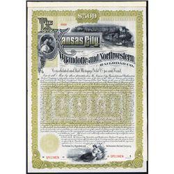 Kansas City, Wyandotte and Northwestern Railroad Co. Specimen Bond With Well Known Reaper Vignette.
