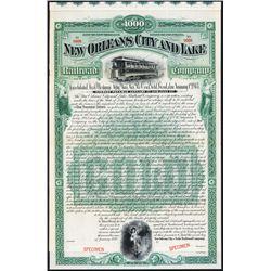 New Orleans City and Lake Railroad Co. Specimen Bond.