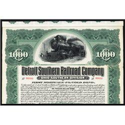Detroit Southern Railroad Co. 1901 Specimen Bond.