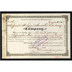 St. Joseph St. Louis & Santa Fe Railway Issued Stock.