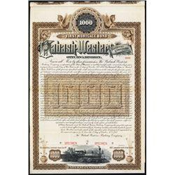 Wabash-Western Railway Co., Ottumwa Division, 1887, Specimen Bond.