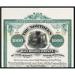 Northern Railroad Co. of New Jersey Specimen Bond.