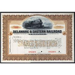 Delaware & Eastern Railroad Co. Specimen Stock.