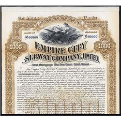 Empire City Subway Co., 1892, Specimen Bond.