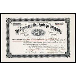 Glenwood Hot Springs Co. Issued Stock.