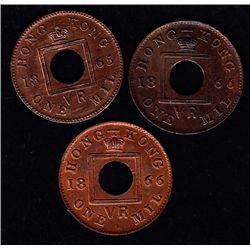 1865 & 1866 Hong Kong Bronze One Mil