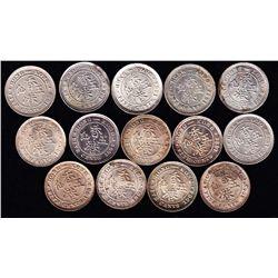 Lot of 14 Hong Kong Silver Five Cent