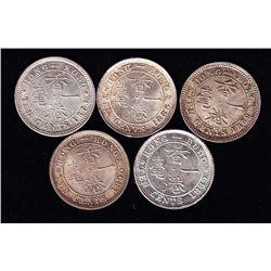1868 - 1890 Hong Kong Ten Cent Lot of 5