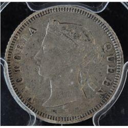 1876H Straits Settlements Five Cent