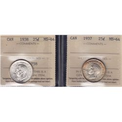 1937 & 1938 Twenty Five Cent