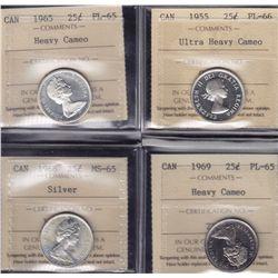 Lot of Four ICCS Graded Twenty Five Cents