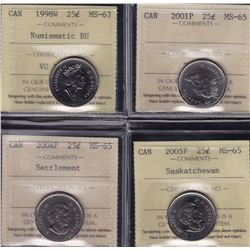 Lot of Eight ICCS Graded Twenty Five Cents