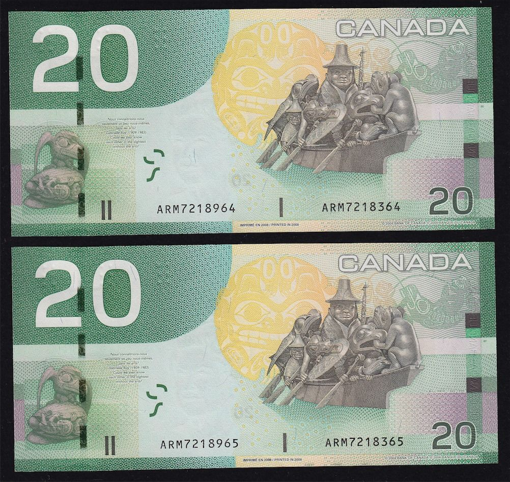 Lot of Two 2004 Bank of Canada $20 Mismatch Serial Numbers Error Notes