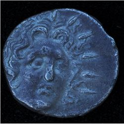 Rhodes (88-64 BC) - AR-Drachm  Obv: hd. of Helios ¾ right facing Rev: Open rose w P---O on either si