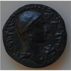 Olba Cilicia (27 BC-14AD) - AE-19  Obv: Bust of high priest ,   Ajax r. in close fitting hat, caduce