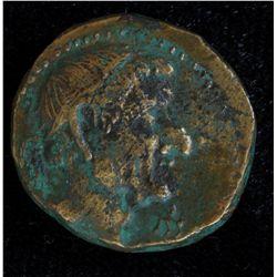 Chalkis Lysanias (40-36 BC) - AE-19  Coele-Syria Obv: Diad. hd. r., monogram  Rev: Athena stg. l. ,
