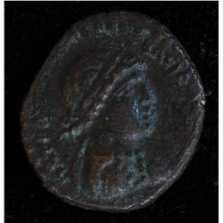 Chalkis Cleopatra VII (32-31 BC) - AE-19 Syria Obv: Diad. and dr. bust r.  partial legend and dots.