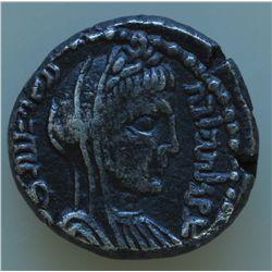 Petra (40-70 AD) - AR-Drachm Malichus II Obv: Laur. hd. r.  Aramaic legend Rev: Veiled  and dr. bust