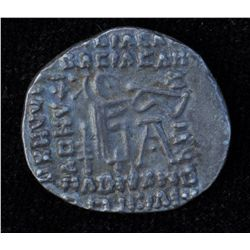 Vonones II (51 AD) - AR-Drachm Obv: Cuir. bust facing, wearing diad. tiara with horns, star on eithe