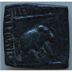 Maues (90-57 BC) - AE-Square Hemiobol Obv: Elephant charging r. Rev: King seated facing, 8.6 grams,