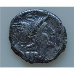 Roman Republic (157-155 BC) - AR-Denarius Anonymous, Rome mint Obv: Helmeted head of Roma, X behind